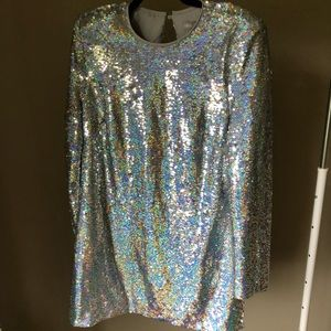 Open back sequin long sleeve dress
